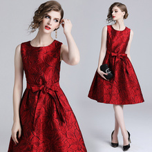 Banulin High Quality 2018 Summer Autumn Luxury Runway Embroidery Jacquard Sleeveless Vest Dresses Plus Size Party Dress Vestidos