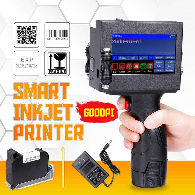 Newest LED Screen Touch-Screen Handheld Printer 600DPI Intelligent USB QR Code Inkjet Label Printer High Quality Coding Machine