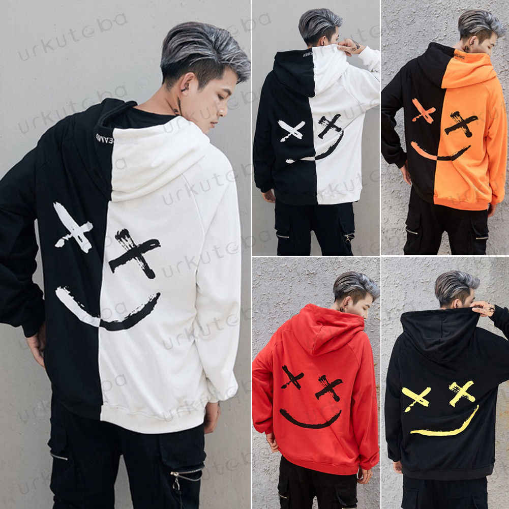 05689b6d2f75 Warm Autumn Winter Cool Mens Multicolor Patchwork Cool Boys Hoody Sweatshirt  Pullover Hooded Thrasher Casual Unisex