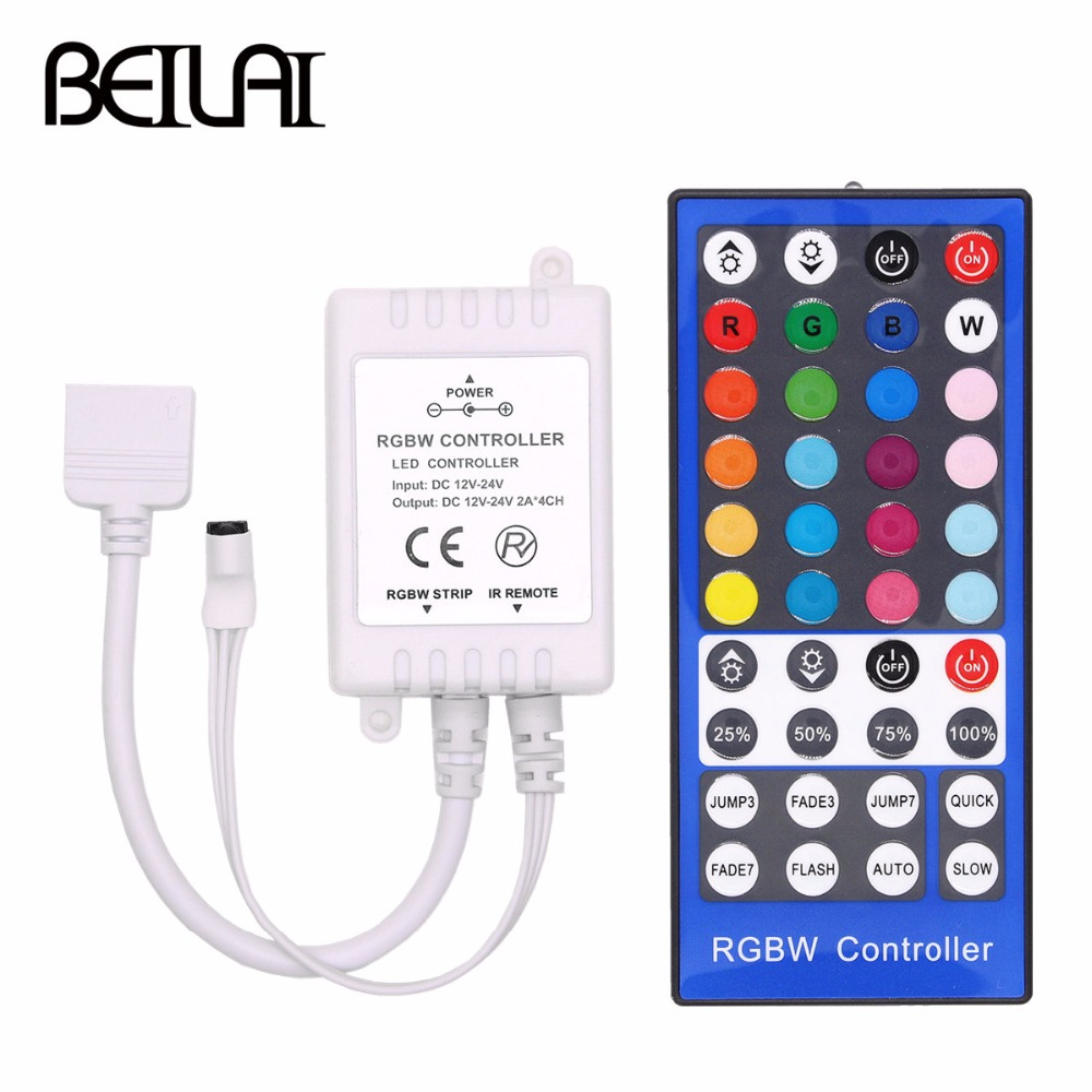 Lights 4 Channels DC 12V - 24V RGBW LED Controller Dimmer 40Key 5Pins IR Remote Control For SMD 5050 RGBW RGBWW LED Strip Light