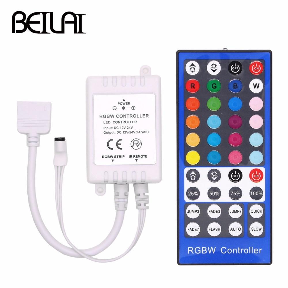 Lights 4 Channels DC 12V - 24V RGBW LED Controller Dimmer 40Key 5Pins IR Remote Control For SMD 5050 RGBW RGBWW LED Strip Light