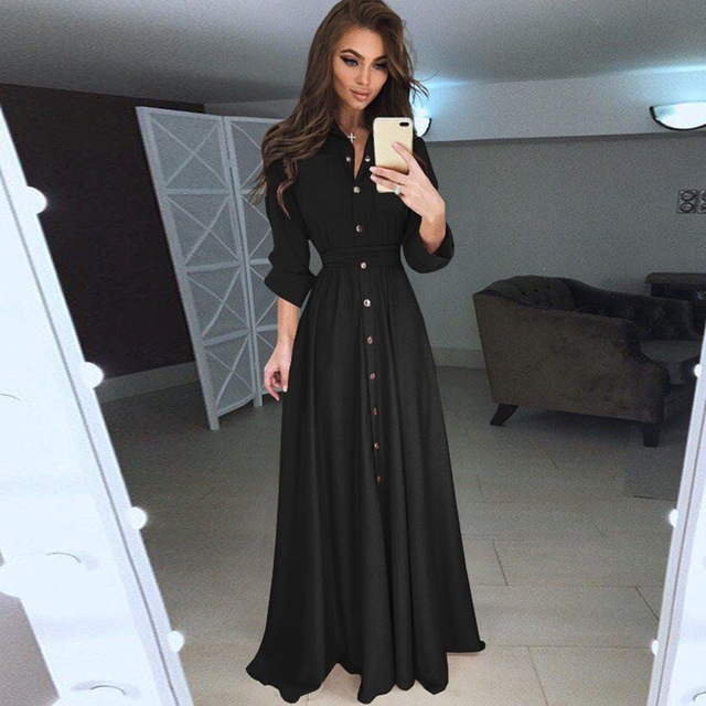 Women Silk Long Dress Black Pink Shirt Tunic Elegant Casual Maxi Dresses  Office Holiday Party Sexy Pocket Beach Dress c2536b0450b5