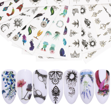 цена на LEMOOC Nail Art Stickers Colorful Flowers Mixed Pattern Nail Art Water Decals Transfer Stickers DIY Nails Decoration