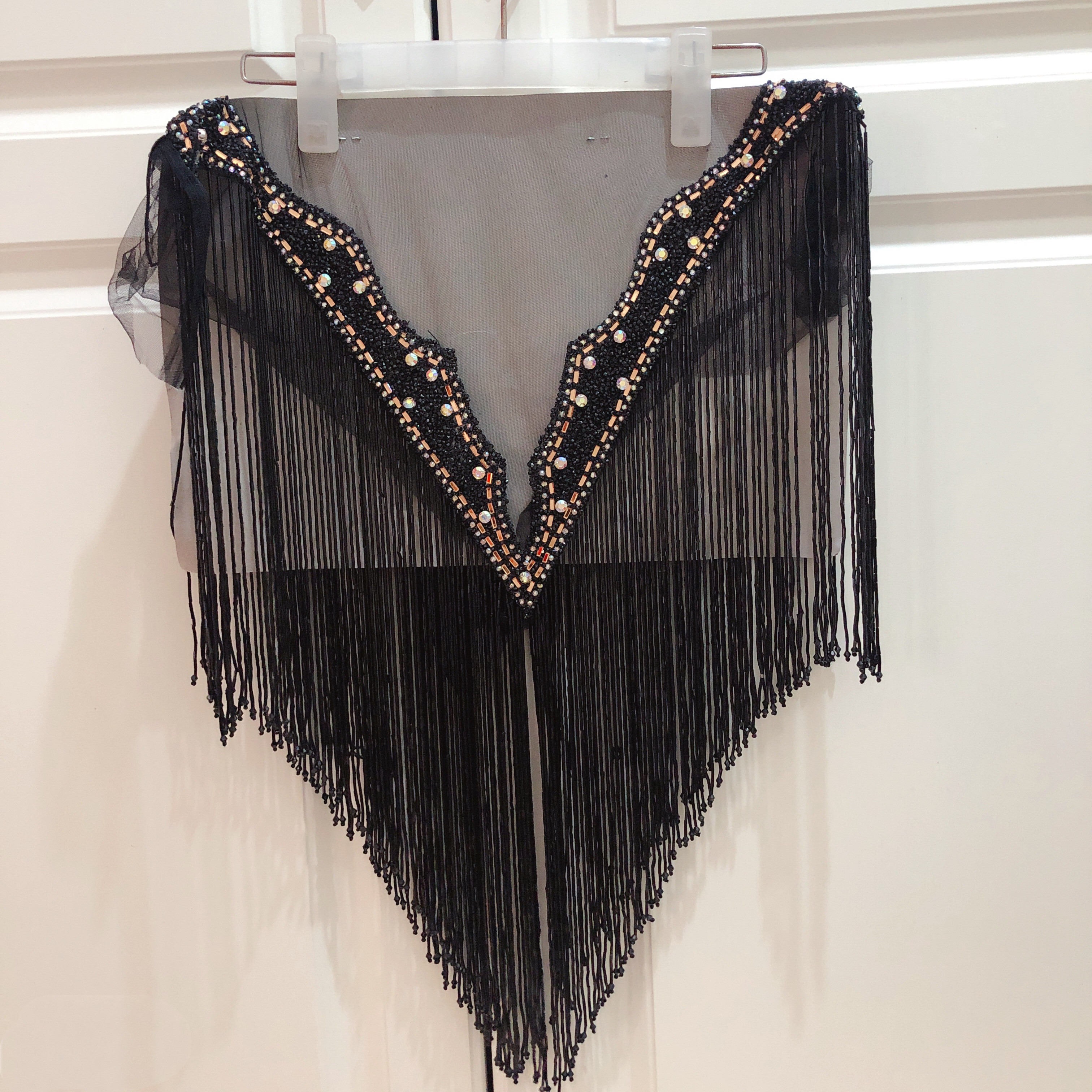 hot sale new wedding embroidered crystal beaded tassels collar appliques many color Deep-V neckline with more fringe