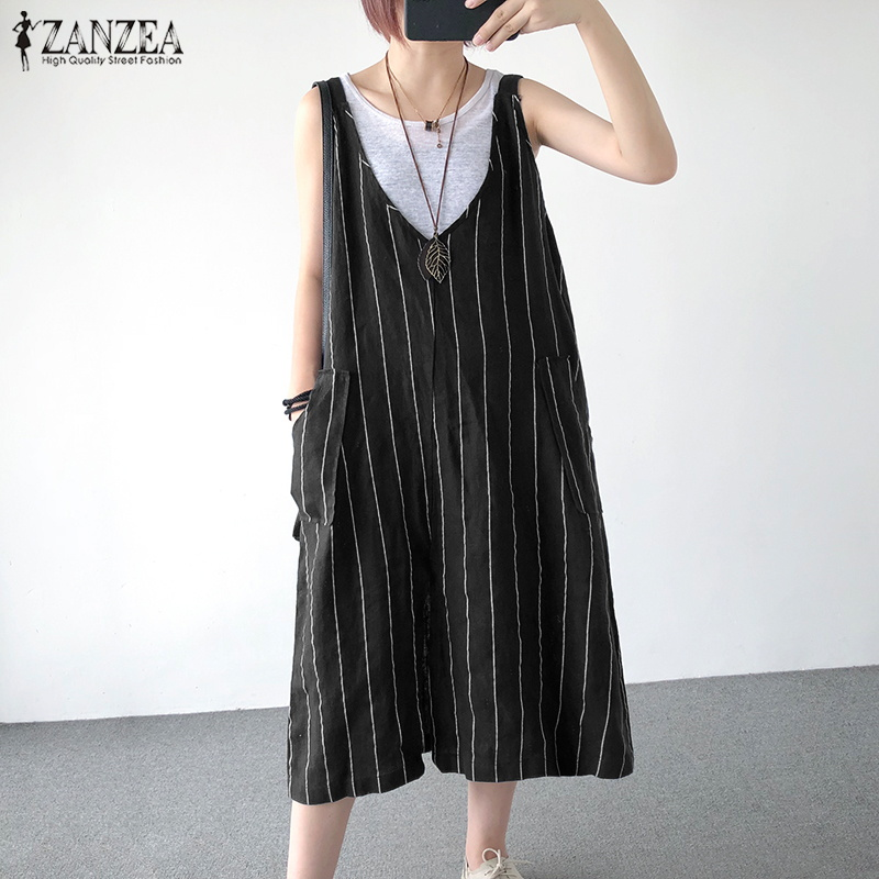ZANZEA 2019 Summer Overalls Dress Women V Neck Sleeveless Striped Dress Vintage Cotton Linen Vestido Casual Sarafans Sundress