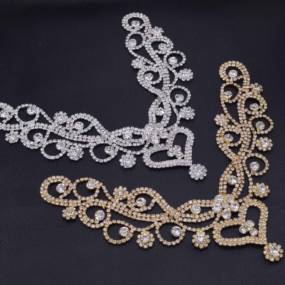 1 pc Argent Strass à Coudre Applique pour robe de mariage robe ceinture Ceinture Bricolage