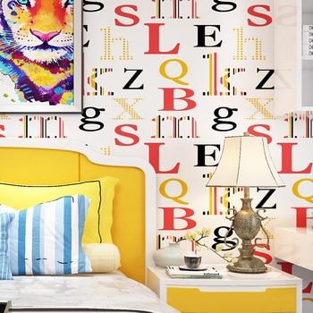 British Style Wallpaper Nordic Style English Alphabet Wallpaper Simple Modern Vertical Bar Bedroom Headboard Background