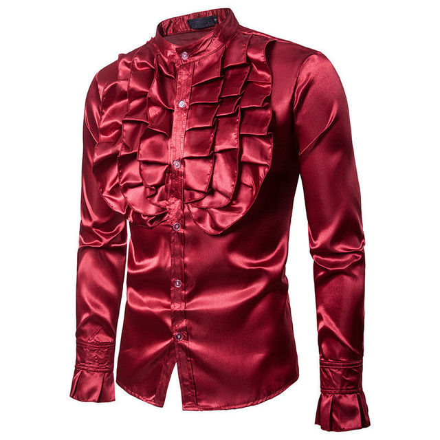 Men Party Luxury Satin Court Vintage Shirts New Casual Formal Business Slim Fit Shirts Top Clothes Clubwear 2