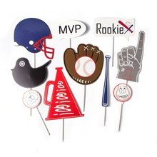 Pack Of 9pcs Baseball Party Decorations Photobooth Props For Kids Adult Birthday Sports Theme Supplies