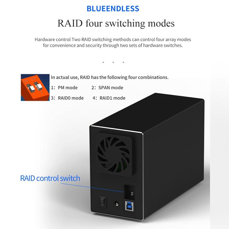 Bluedendless 3,5 pulgadas de disco duro Array Raid Dual Bay Hdd Raid de datos de apoyo 2X10Tb Drive enchufe de la UE - 5