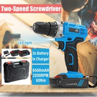 21V 6500mAh 2 Speed 2200RPM Electric Screwdriver Kit 2 Li Ion Batteries Rechargeable LED Electric Cordless Drill Power Tool 10mm