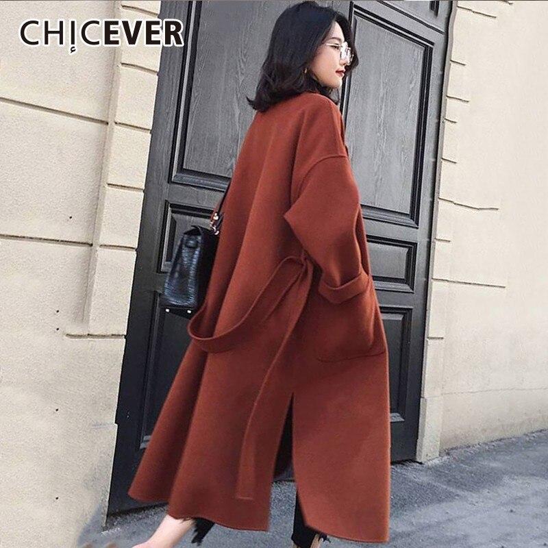 À Coréenne Femme Hiver Split Manteaux Coat Mode red Vestes Coat Manteau Pour Femmes Hem Marée Longues Dentelle Beige Chicever Up black Coat Lâche Manches Épais Revers Automne En De 0a5wHH1