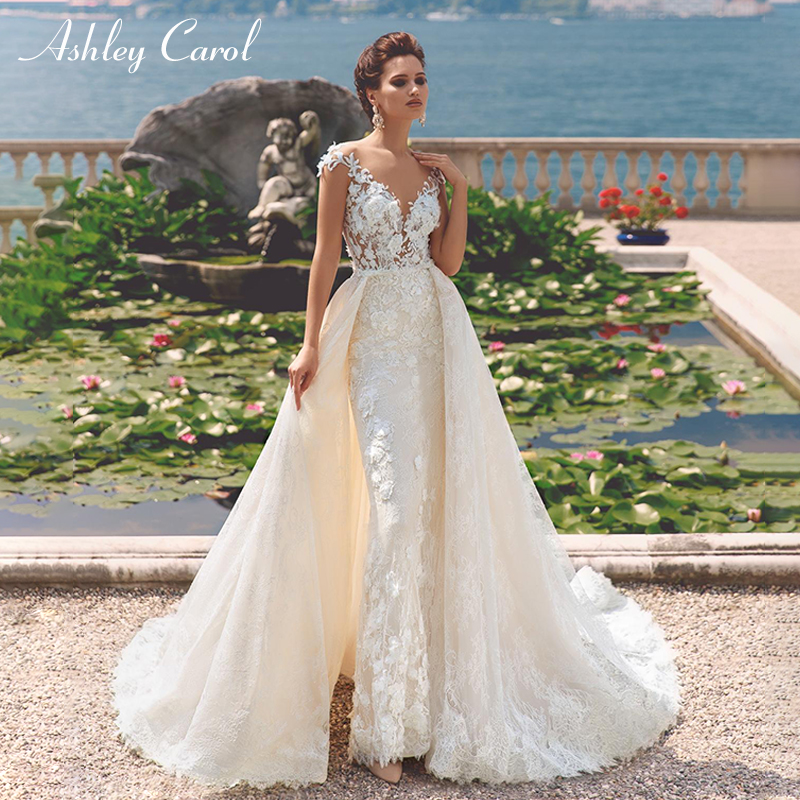 Ashley Carol Sexy V neckline Mermaid Wedding Dresses 2019 Off the Shoulder Detachable Train Romantic Lace