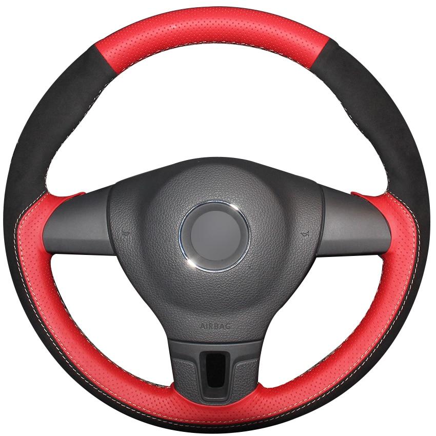 Couvre-volant de voiture en daim noir en cuir naturel rouge pour Volkswagen VW Tiguan Lavida Passat B7 Jetta Mk6