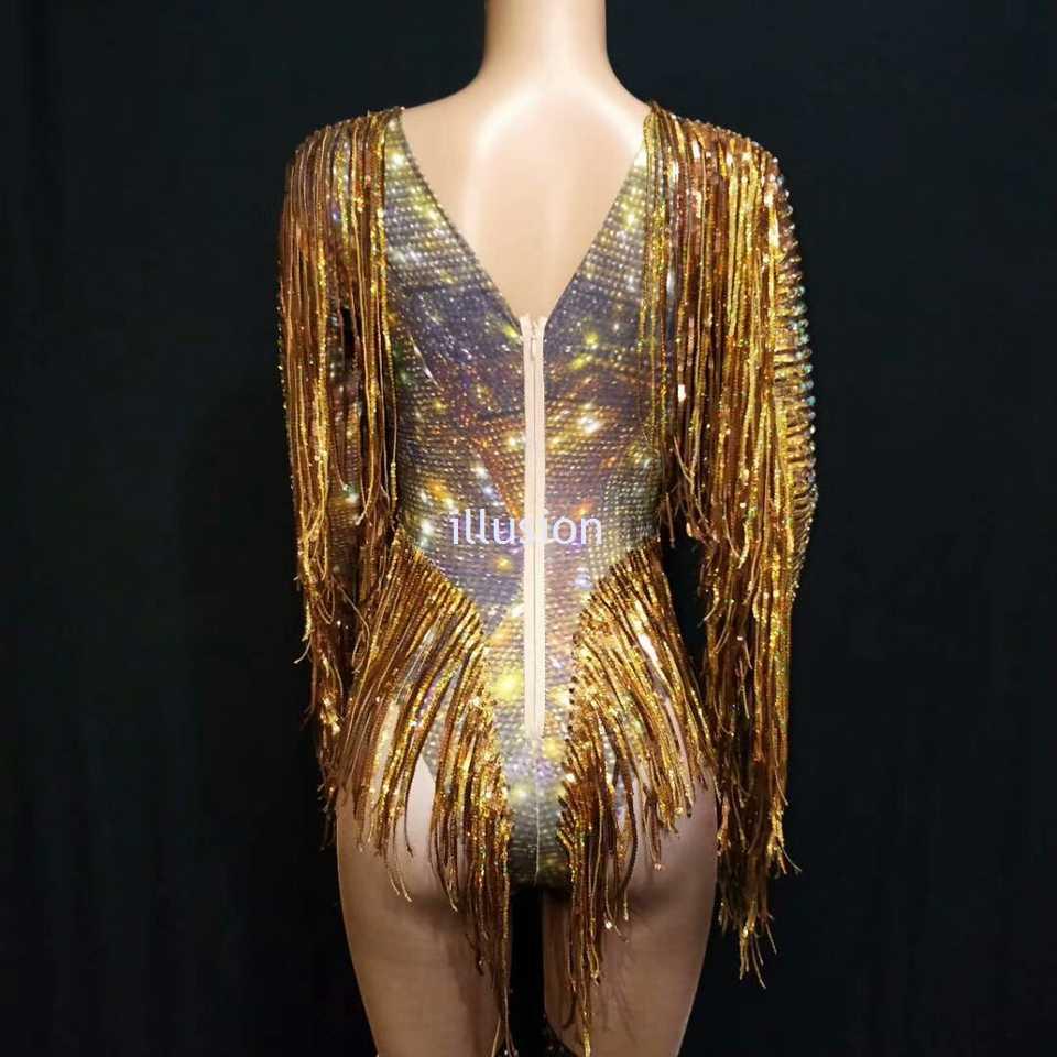 Блестящий Золотой комбинезон со стразами сексуальный глубокий V кисточкой джазовый танцевальный костюм для женщин певец ночной клуб сценическая одежда для выступлений наряд