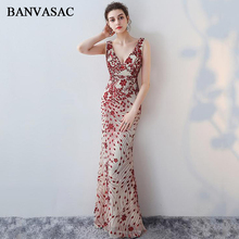 BANVASAC 2019 Sexy Deep V Neck Sequined Appliques Mermaid Long Evening Dresses Party Lace Backless Prom Gowns