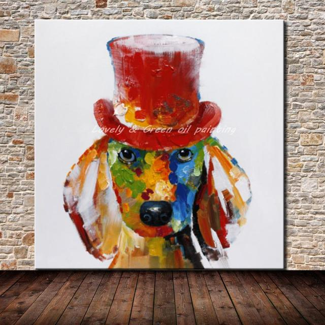 Hand Painted Modern Abstract Dog Oil Painting On Canvas Hand Made Animal Paintings For Living Room Decor Wall Art Picture