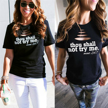 Ladies Summer Casual Tops Fashion Black Printed Hole Slim Short Sleeve Cotton T-Shirt