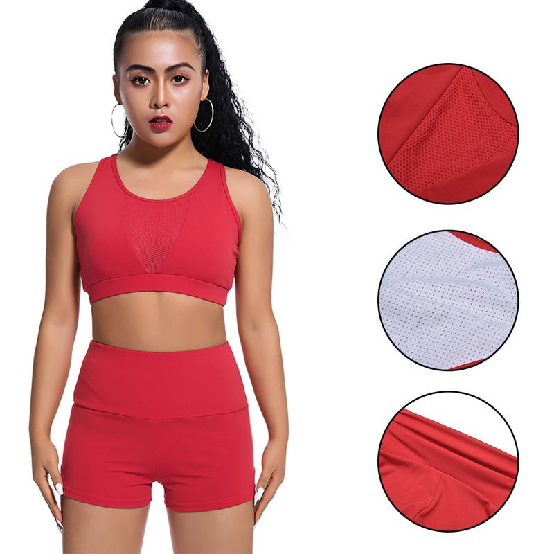 Outdoor Fitness Sports Suit Sets Ladies Quick-drying Mesh Sexy Sports Suit Fitness Soft Sports Suit Female Black White Red Blue