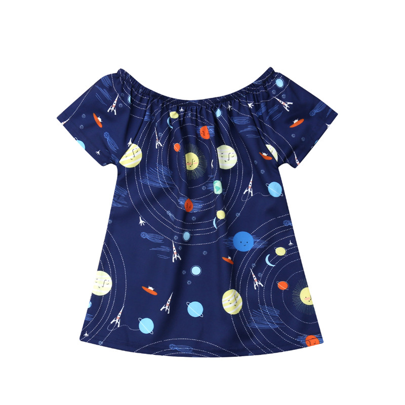 Kids Baby Girls Clothes Space Universe Pattern Casual Navy