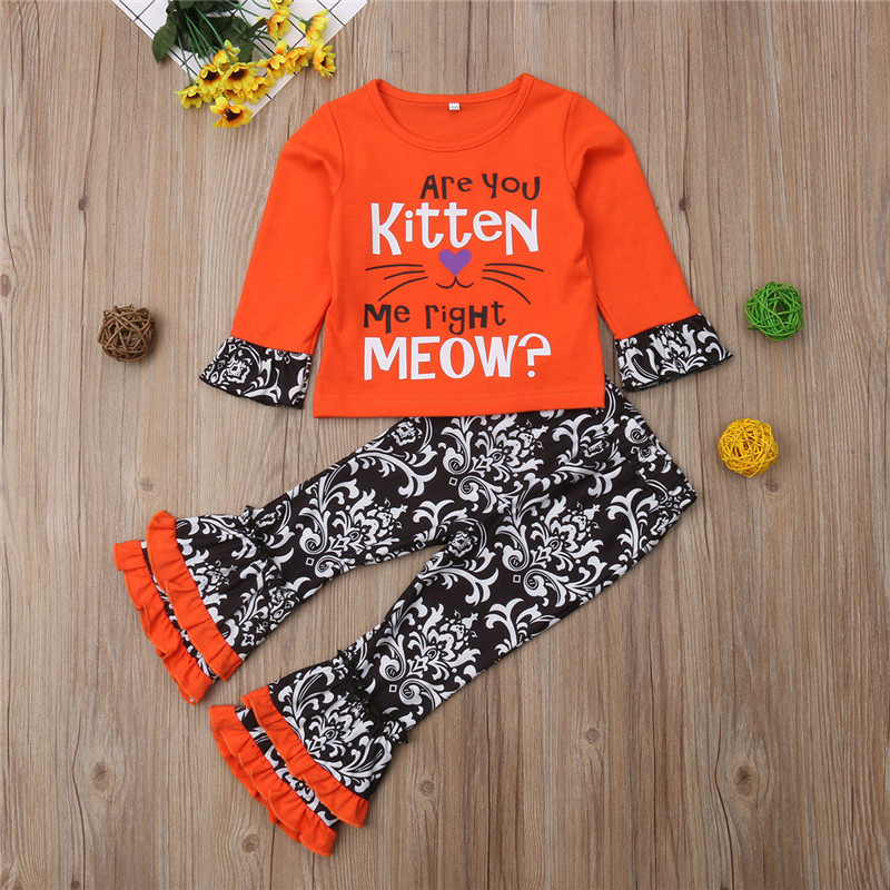 0-5T Newborn Kids Baby Kids Girls Clothing Ruffles Cat Cartoon T-shirt Tops Flared Pants Floral Outfits fashion cute Streetwear