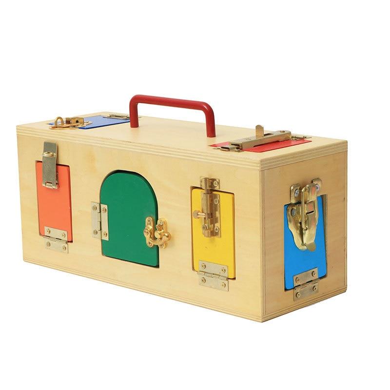 Hotsale Montessori jouets 3 ans serrure boîte Montessori matériaux sensoriels éducatifs en bois jouets pour enfants Montessori bébé jouet