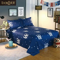 Blue Color Bedding Sheet 3 pcs King Size Bed Sheet Set for Queen Bed Letter Printed Flat Sheet with Pillowcase29