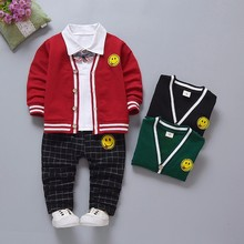 цены Spring Autumn Children Girls Boys Cotton Clothing Fashion Baby Jacket T-Shirt Jeans 3pcs/Set Kids Fashion Casual Leisure Suits