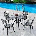 Set-5pcs мебель для патио  Обеденный набор  садовое кресло и стол  цельный литой алюминиевый чат  набор из антикварной меди