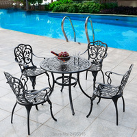 Set 5pcs New Patio Furniture modern Design garden chair and table Cast Aluminum Bistro Set in Antique Copper