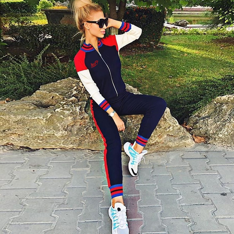 2019 TWO PIECE SET Long Sleeve Matching Tracksuit Women Pants Joggers Track Suit Streetwear Clothing Pink Letters Runway Outfit