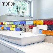 Tofok Ceramic Tile Sticker Removable Waterproof Wall Decals Kitchen Decla Fashion Home Decoration 20