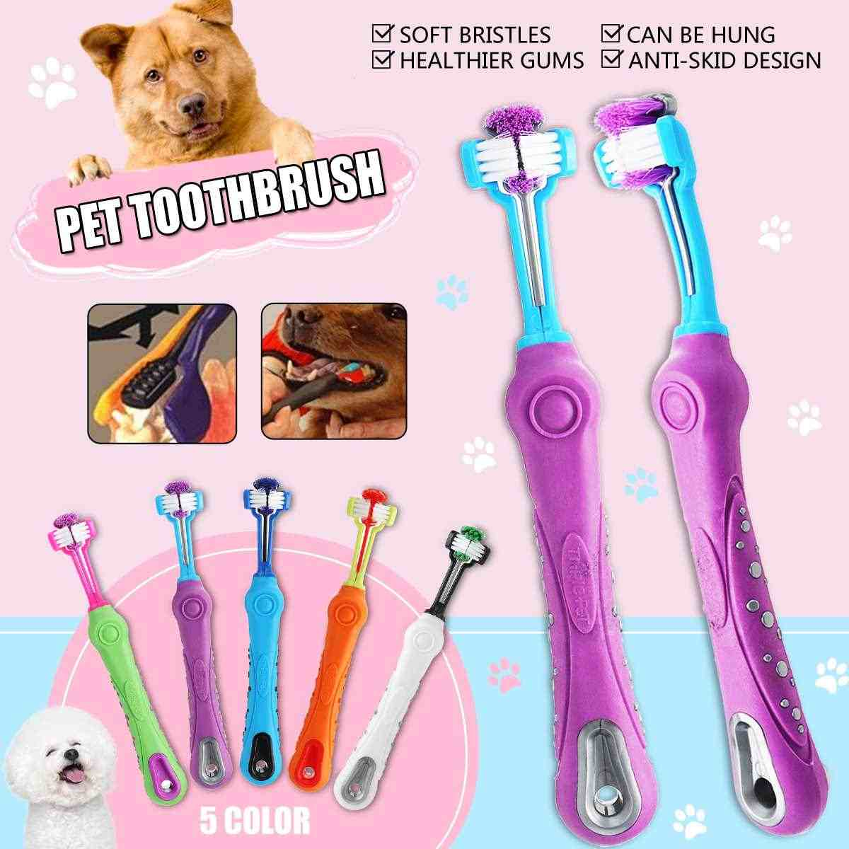 1Pcs Three Head Dogs Toothbrush With Non-slip Handle Teeth Care Dog Cat Cleaning Mouth Teeth Cleaning 5Colors