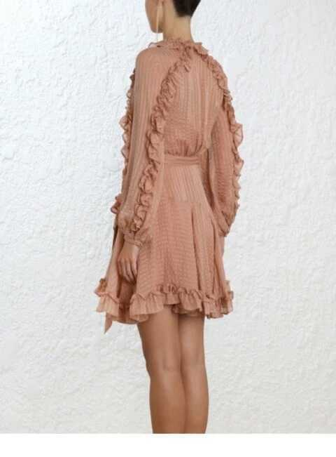 Femmes A Black Taille V Haute ligne Vintage Bandage Feuille Q509 À Robe Rides Lotus Col Longues Robes Bouffantes dark Manches Pink dCBxoe