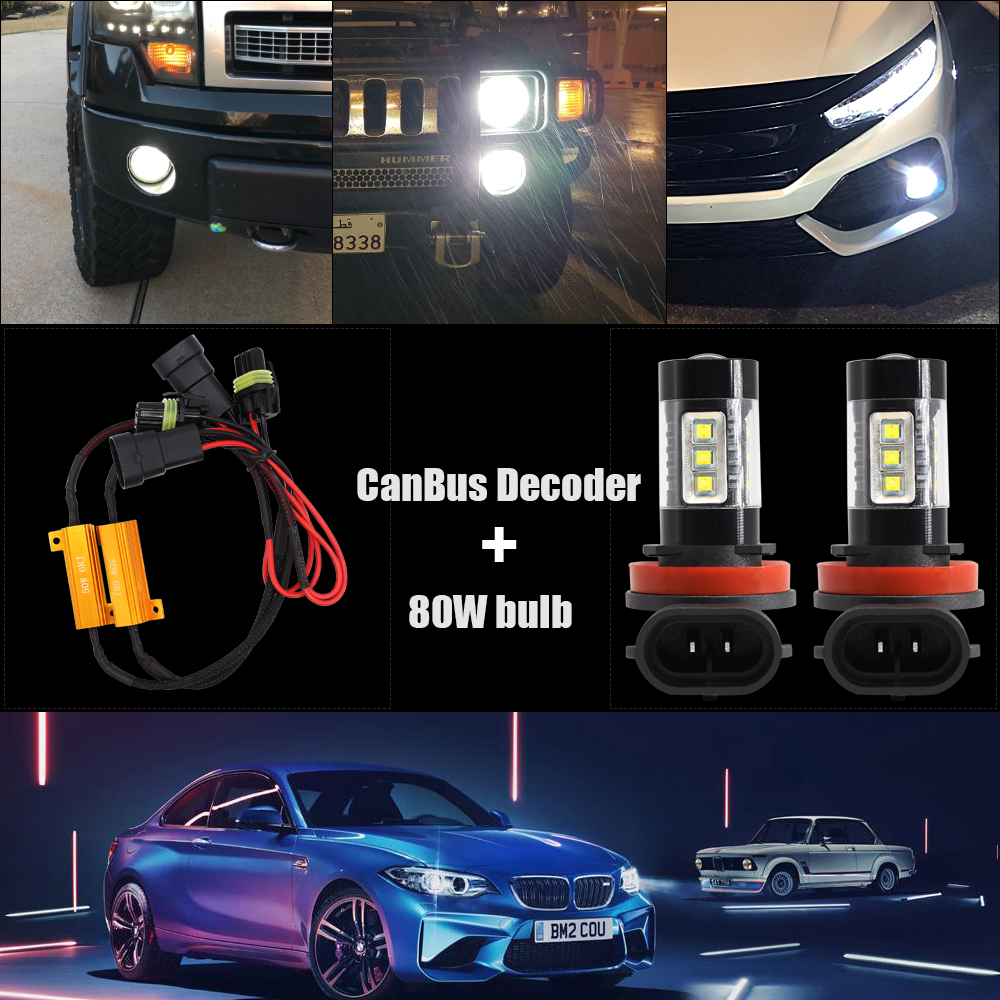 2x Canbus H11 H8 H9 LED Fog Light Bulb For BMW E46 E39 E60 E36 F30 F10 E30 E34 X5 E53 M F20 X3 E87 E70 E92 X1 M3 X6 E38 in Car Fog Lamp from Automobiles Motorcycles