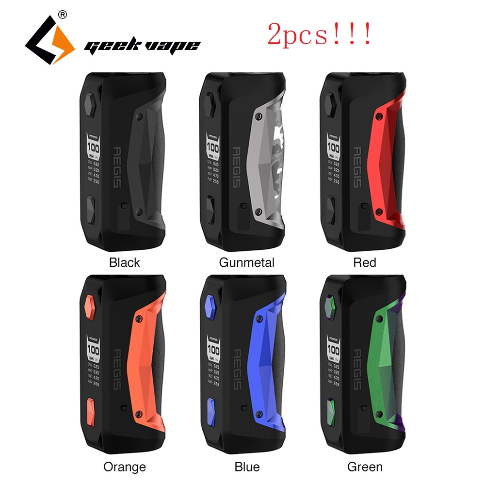 2pcs lot New Original GeekVape Aegis Solo Mod 100W Electronic Cigarette Box MOD Vape Support Tengu