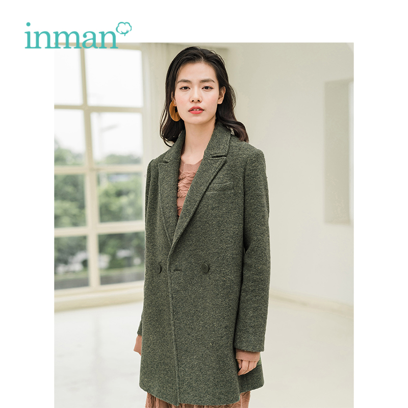 INMAN Winter New Arrival Turn Down Collar Retro Hongkong Style Warm Women Middle Long Woolen Coat
