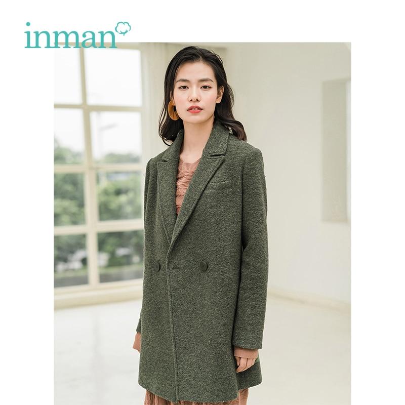INMAN Winter New Arrival Turn Down Collar Retro Hongkong Style Warm Women Middle Long Woolen Coat