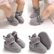 2019 Brand Grey Cotton First Walker Baby Girls Boy Winter Warm Boots Newborn Toddler Fleece Fur Soft Sole Crib Shoes Prewalker(China)