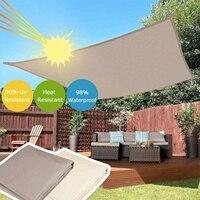 300D Waterproof Polyester Rectangle Awning Sun shading net Sun Shade Sail Outdoor Sun Shelter Khaki