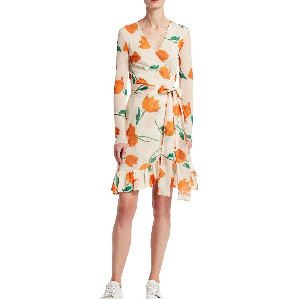 Tilden tulipe maille Wrap robe printemps imprimé léopard châle à fleurs robe vanille glace avec ceinture