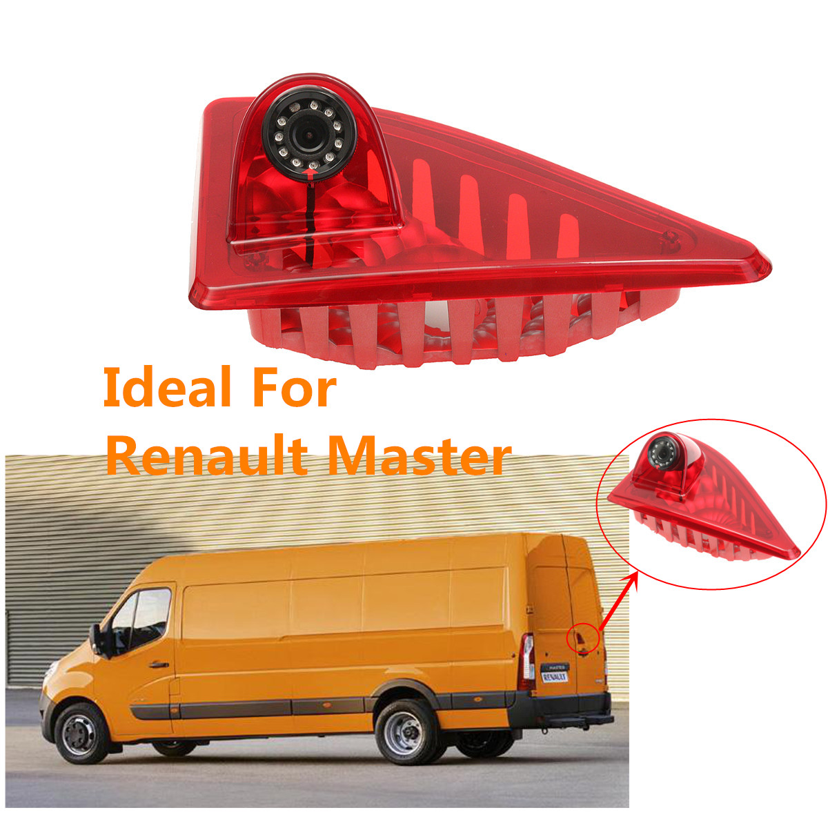 12V Car Brake Light Rear View Camera  Reverse Backup 3RD Night Vision Parking For Renault Master With Built-in 10 IR Led Light