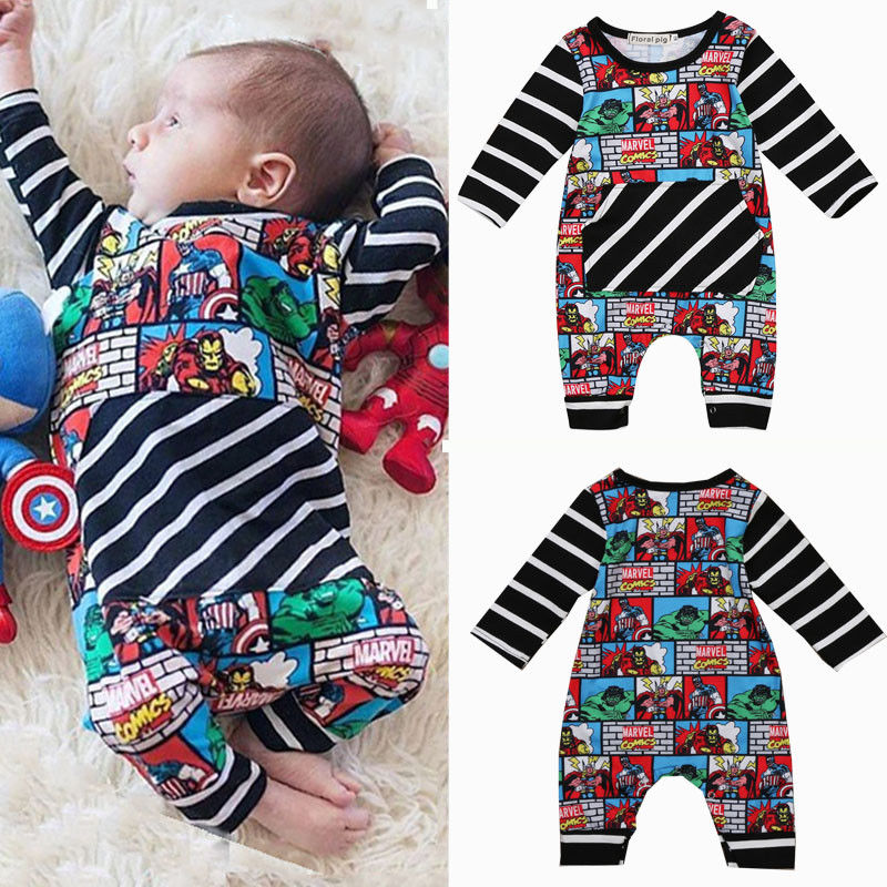 Pudcoco JUMPSUITS For Boy Superhero Newborn Baby Boy Stripe Cotton   Romper   Jumpsuit Outfit Clothes