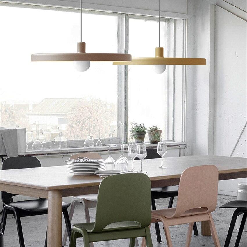 Five Colors Optional Modern Led Iron Pendant Lamp Living Room Bedroom Restaurant Kitchen Fixtures Corridor Luminaire Lighting in Pendant Lights from Lights Lighting