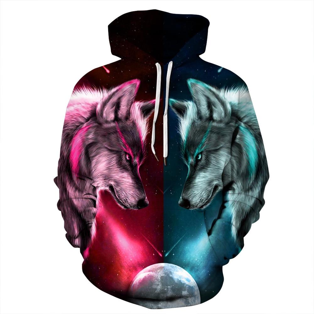 3D Animal Lion Wolf Head Print Hoodies Men Hoodie with Hat Round Neck Loose Sweatshirt Pullover Sudaderas Para Hombre Streetwear