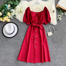 Женское платье трапециевидной формы, женские вечерние платья с пышными рукавами и вырезом лодочкой, женские однобортные платья больших размеров до середины икры Vestidos