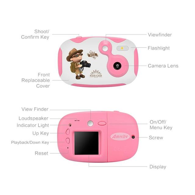 Amkov 1.44 Inch Mini Children's Digital Camera Recorder With Stickers Children's Toy Gift Multiple Language Support TF/SD Card