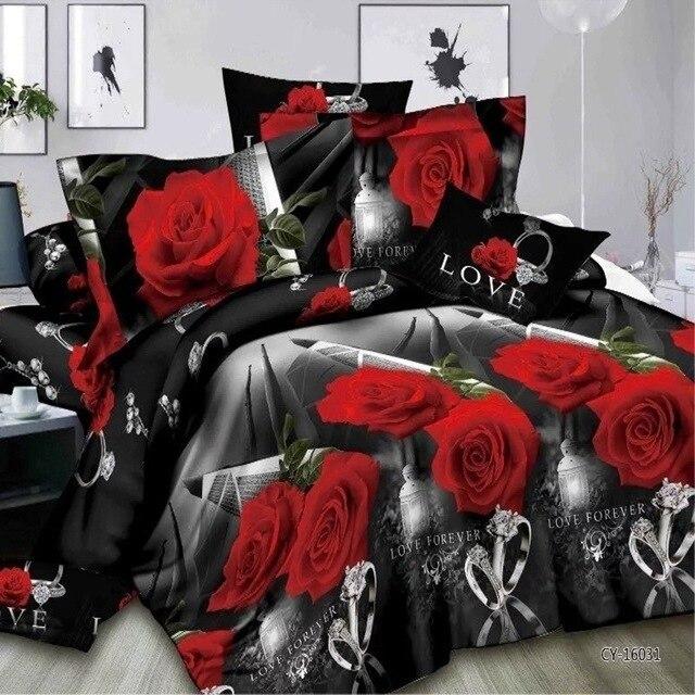 2/3/4pc Wedding Bedding Sets 3D Rose Diamond Ring Print Cotton Duvet Cover Set Bedclothes Pillowcase Bed sheet Bed Bedspread