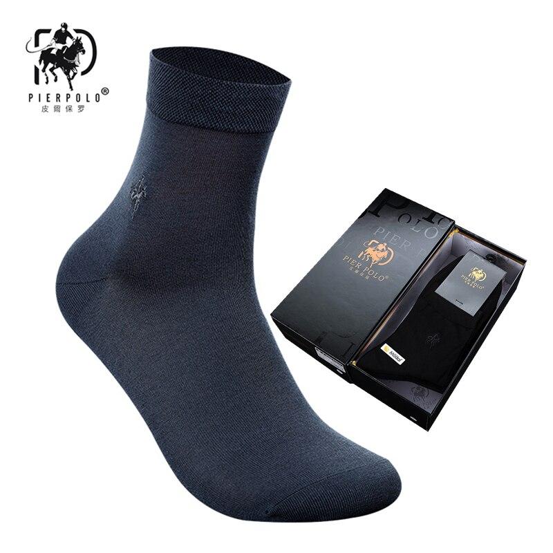 New PIER POLO Men's Fashion Casual Gift Socks Pure Color Silk Socks Deodorant Breathable Men's Socks 6 Pairs Beautiful Boxed
