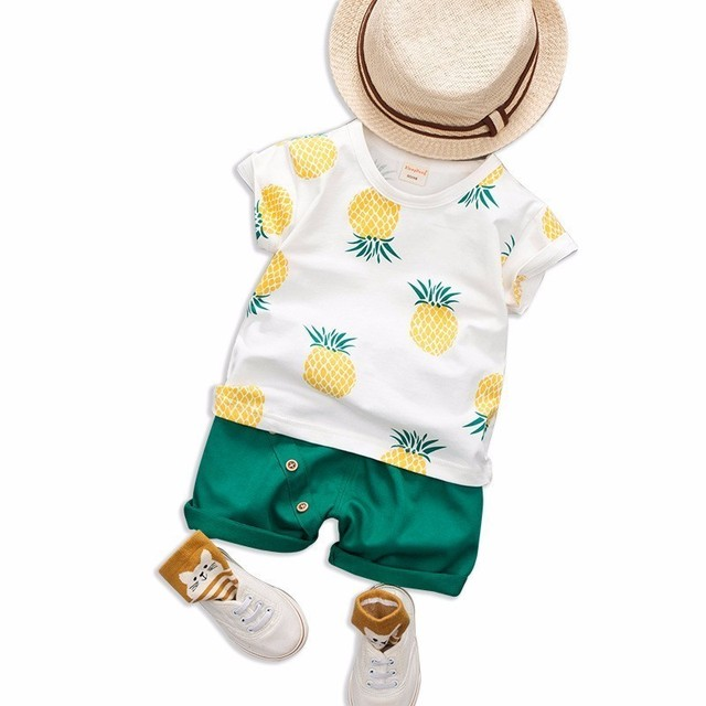 16a95691e1 2019 New Baby Boys Girls Summer Clothes Cotton Set Printed Fruit Sports  Suit T Shirt Shorts Children'S Clothing Tracksuits